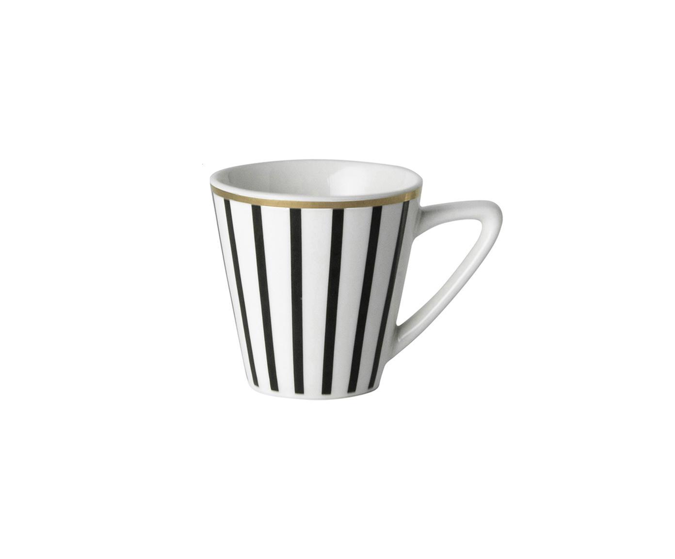 Espressotassen Pluto Loft mit Streifendekor und Goldrand, 4 Stück, Porzellan, Schwarz, Weiss, Goldfarben, Ø 6 x H 6 cm
