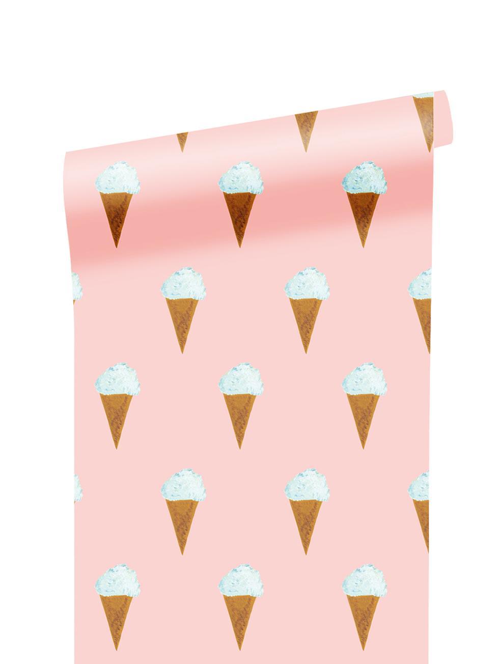 Tapete Ice cream, Papier, matt, 165 g/m², Rosa, Weiss, Braun, B 97 x H 280