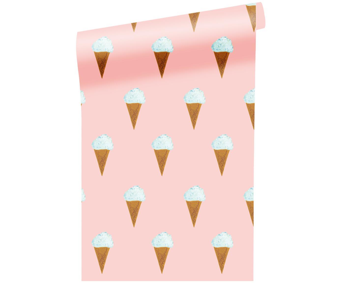 Tapete Ice Cream, Papier, matt, 165 g/m², Rosa, Weiß, Braun, B 97 x H 280