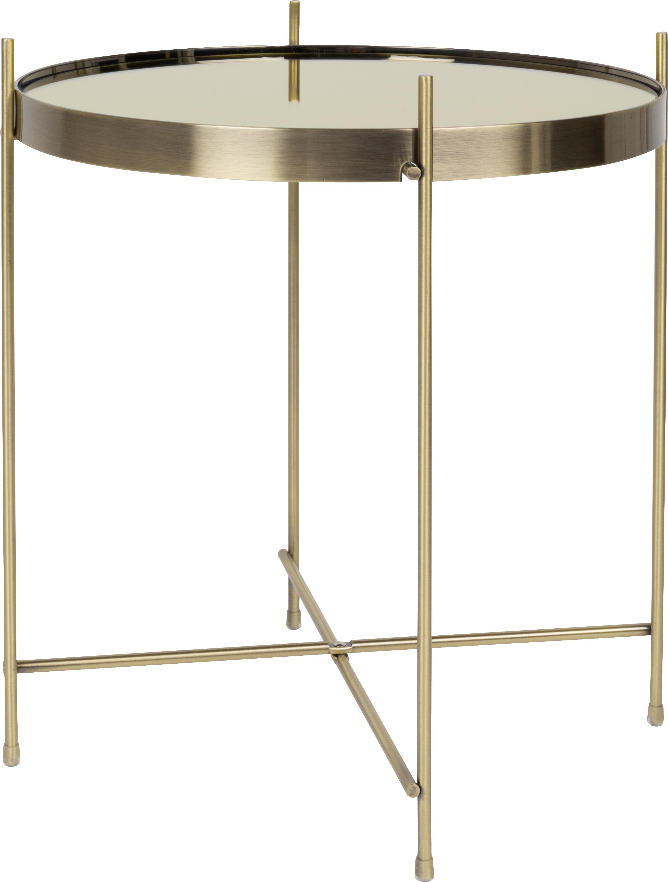 Mesa auxiliar con bandeja de cristal extraíble Cupid, Estructura: metal, pintura en polvo, Tablero: espejo de cristal, pintad, Dorado, Ø 43 x Al 45 cm