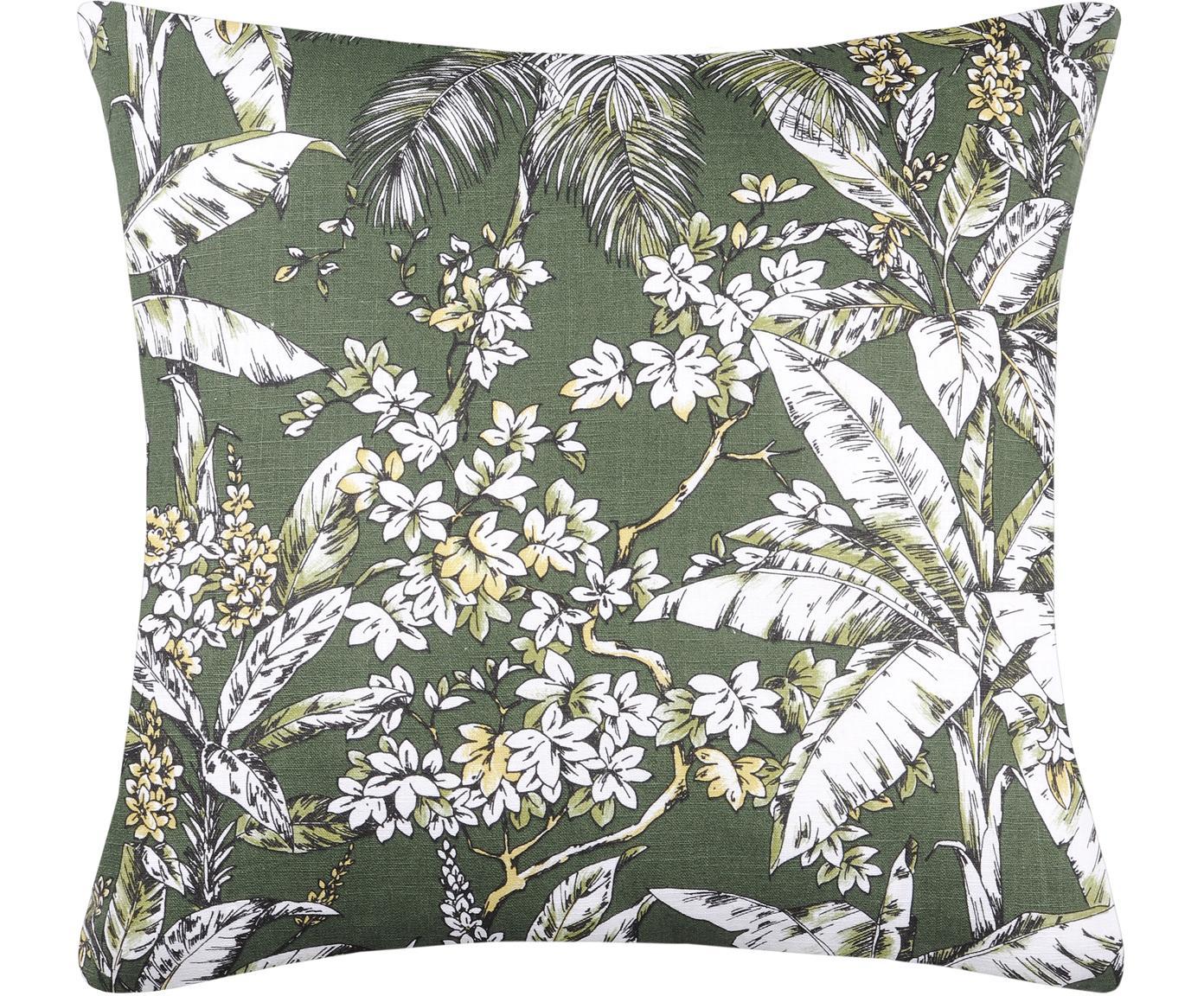 Kussen Barbade met bloemenpatroon, met vulling, 50% polyester, 46% ramie vezels, 4% katoen, Kakigroen, 50 x 50 cm