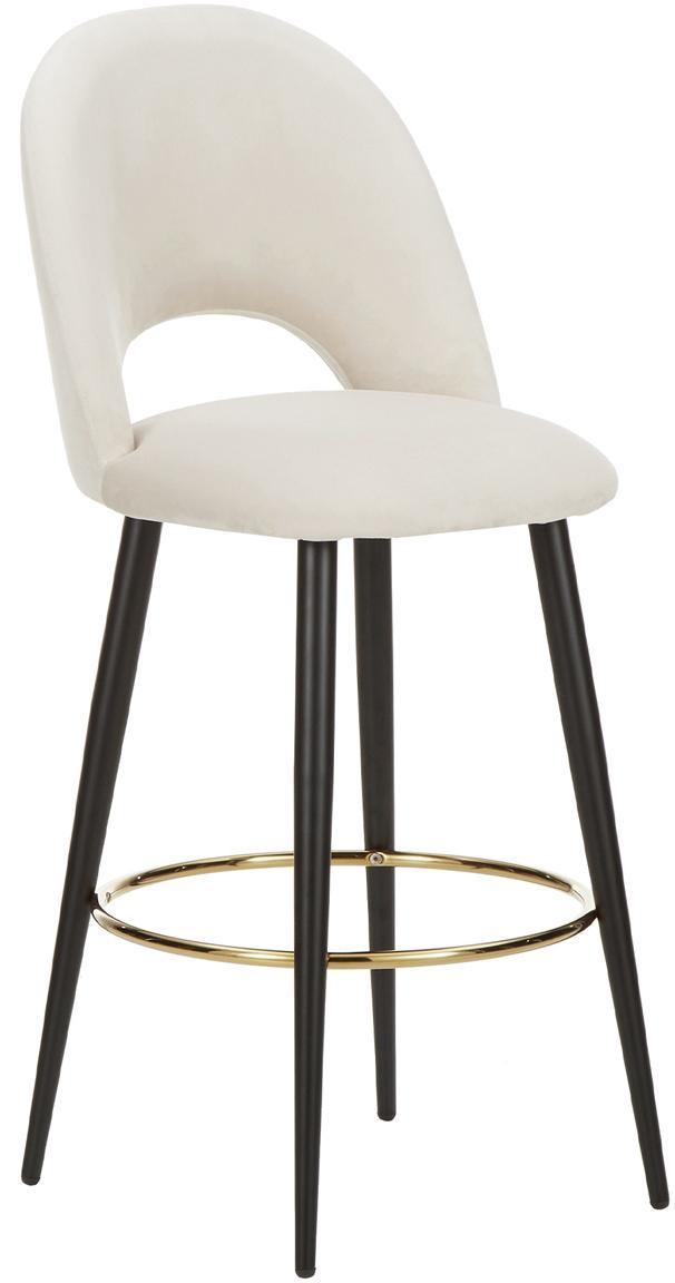 Sedia da bar in velluto Rachel, Rivestimento: velluto (poliestere) 50.0, Gambe: metallo verniciato a polv, Velluto beige, Larg. 48 x Alt. 110 cm