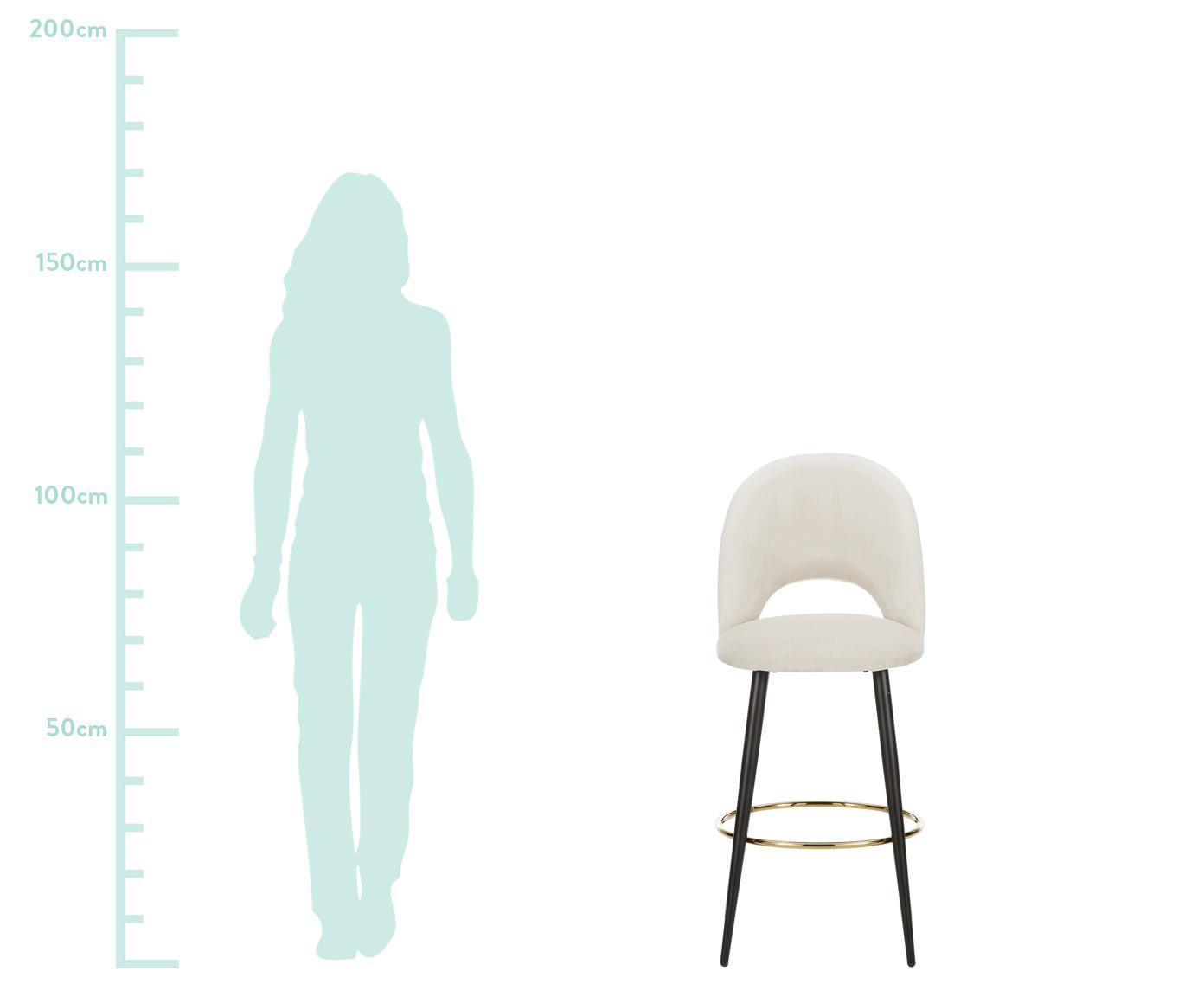 Samt-Barstuhl Rachel, Bezug: Samt (Polyester) 50.000 S, Beine: Metall, pulverbeschichtet, Samt Beige, 48 x 110 cm