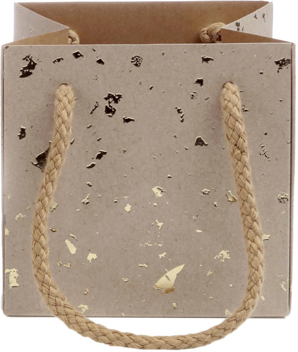 Geschenktaschen Carat, 3 Stück, Griffe: Baumwolle, Tasche: Kraftpapier, Braun, Goldfarben, 11 x 11 cm