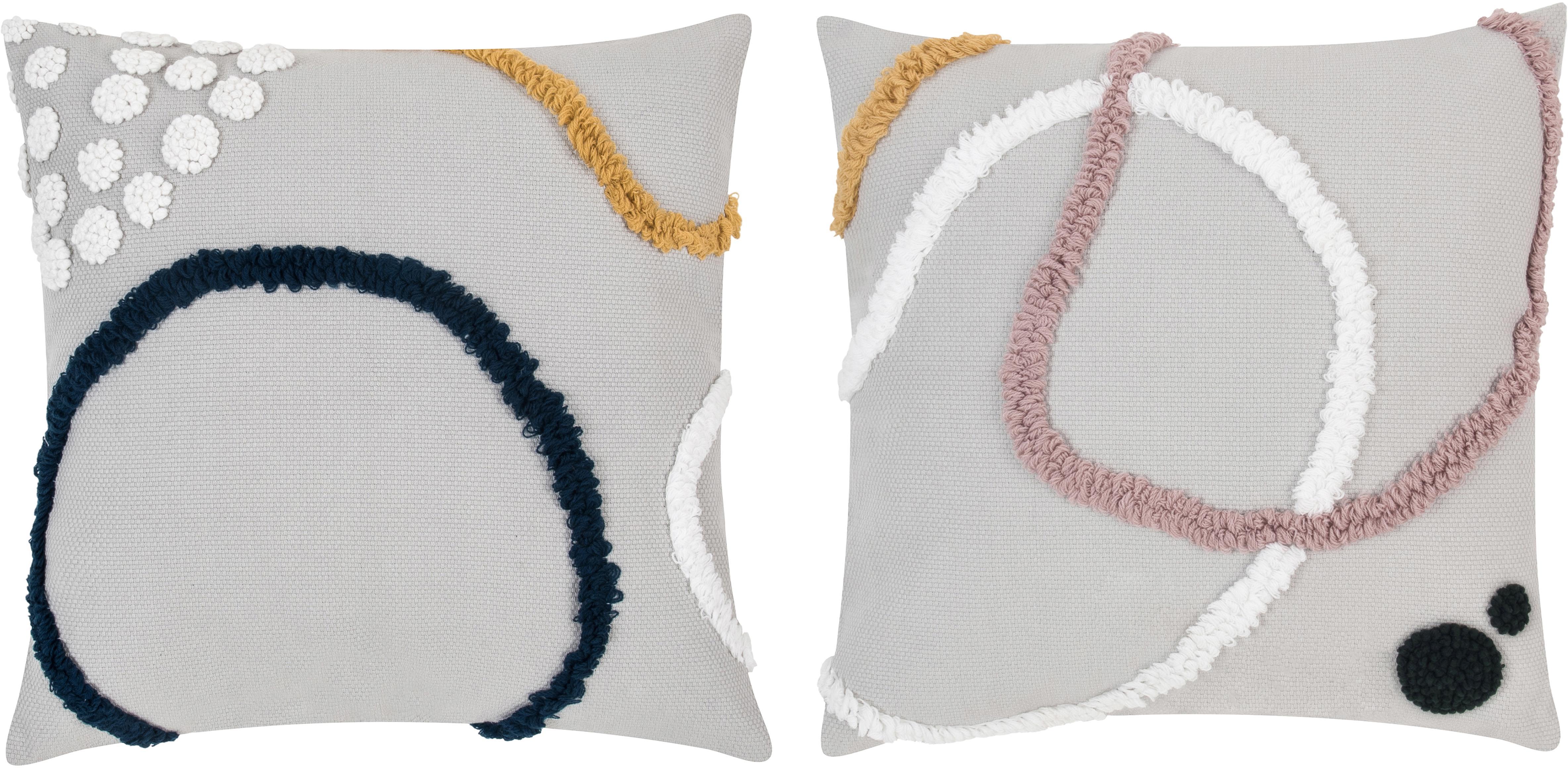 Kissenhüllen Pablo mit abstrakter Verzierung, 2er-Set, 100% Baumwolle, Vorderseite: MehrfarbigRückseite: Weiss, 45 x 45 cm