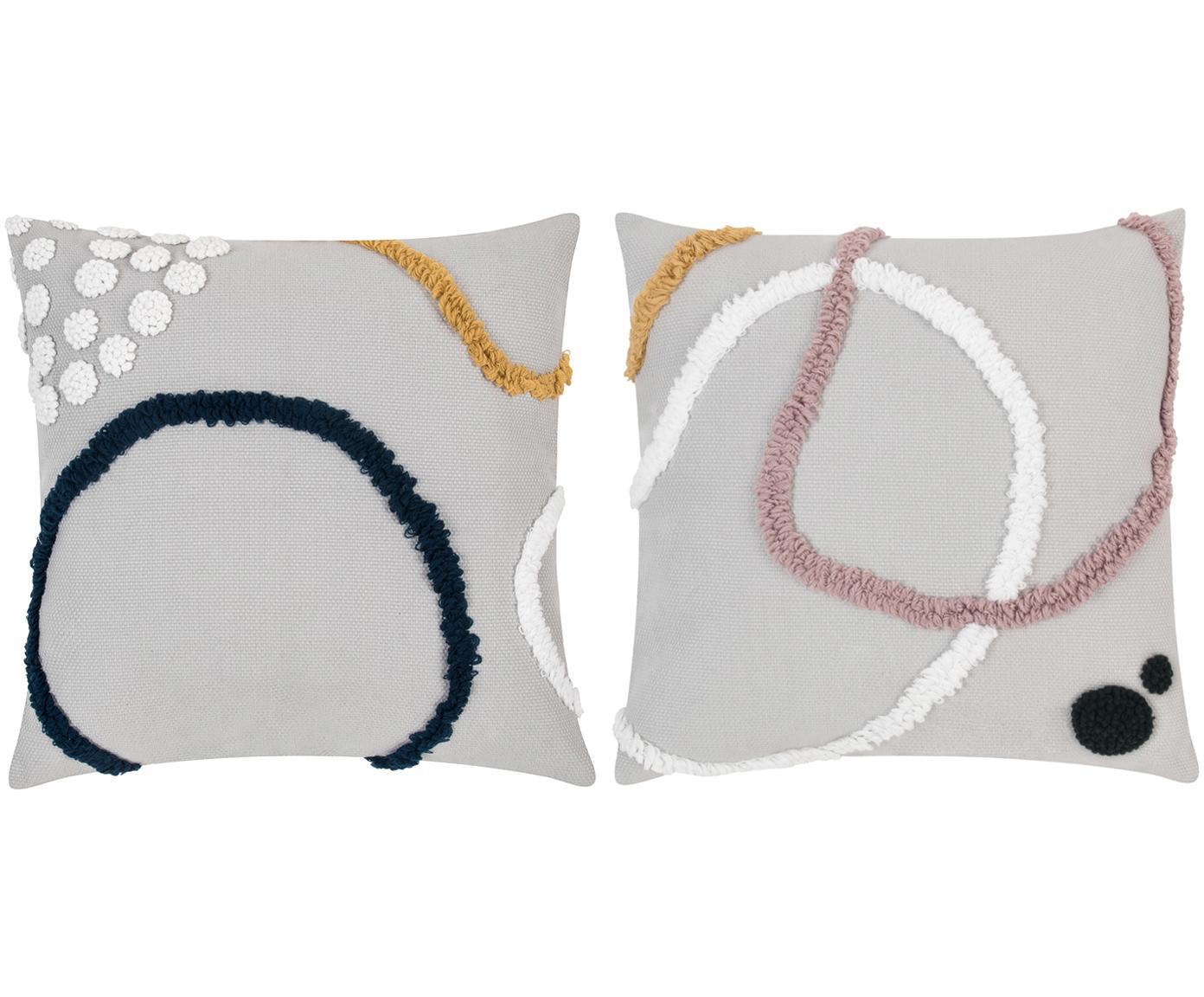 Set de fundas de cojín Pablo, 2uds., Algodón, Multicolor, blanco, An 45 x L 45 cm