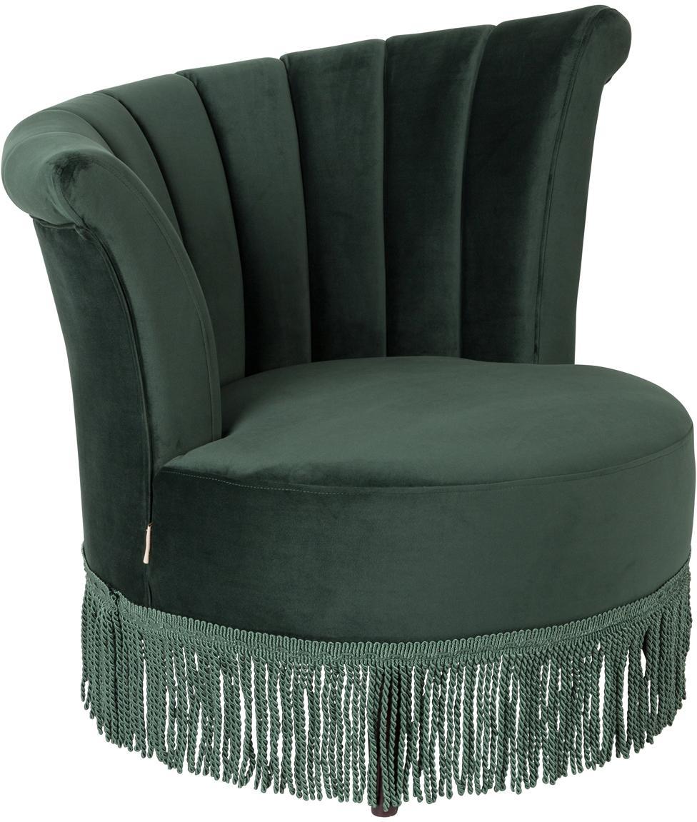 Fluwelen fauteuil Flair in donkergroen, Bekleding: polyester (fluweel), Poten: eikenhout, Donkergroen, 85 x 95 cm