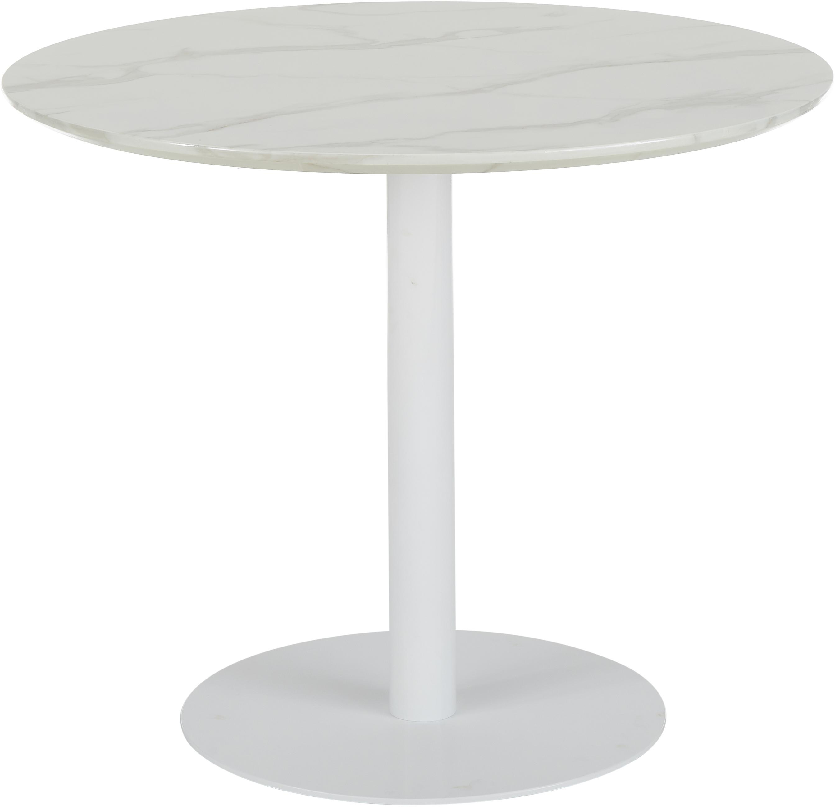 Table ronde blanche Karla, Plateau: blanc, marbré Pied: blanc, mat