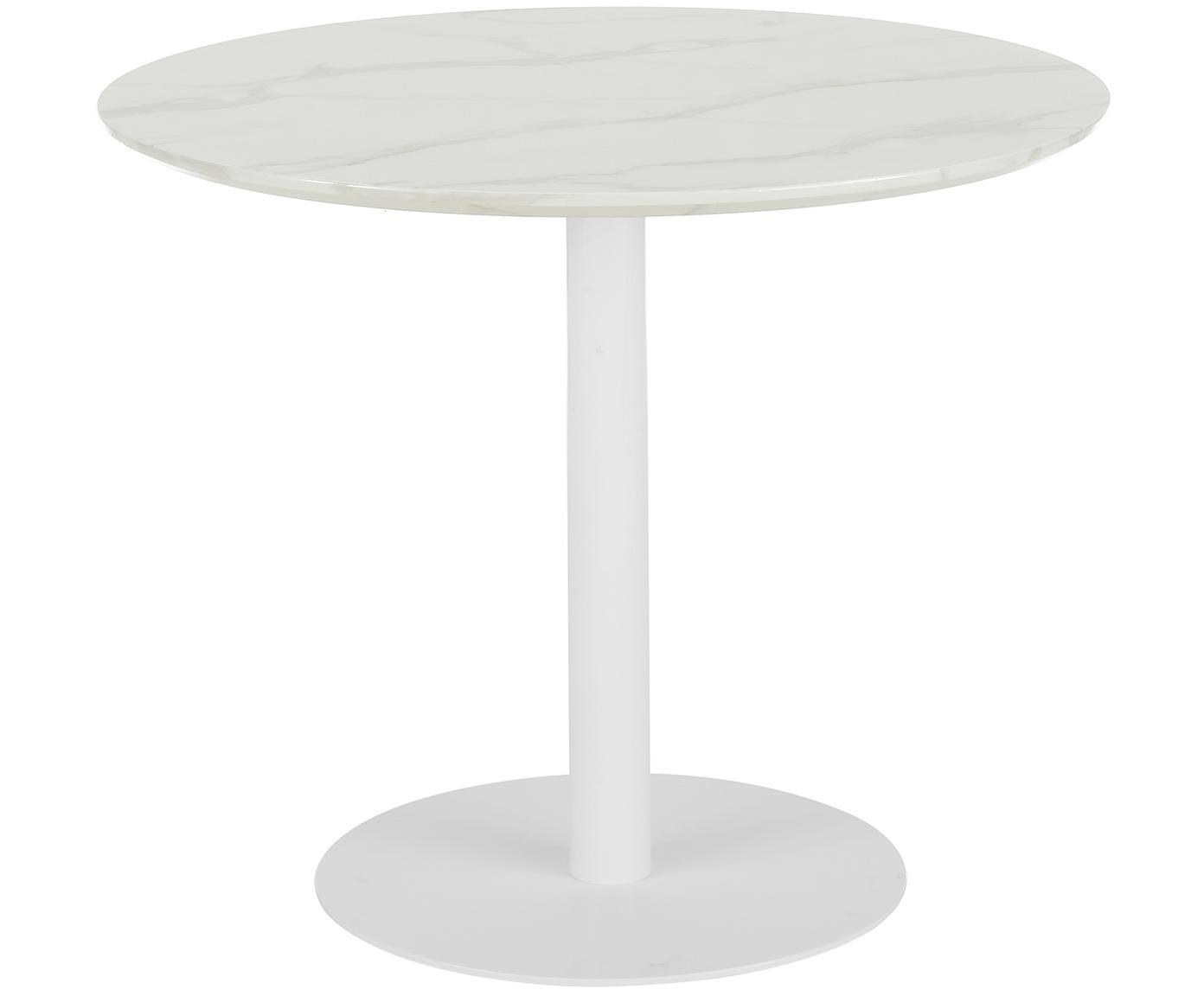 Mesa de comedor redonda en aspecto mármol Karla, Tablero: tablero de fibras de dens, Estructura: metal con pintura en polv, Tablero: blanco veteado Base: blanco mate, Ø 90 x Al 75 cm
