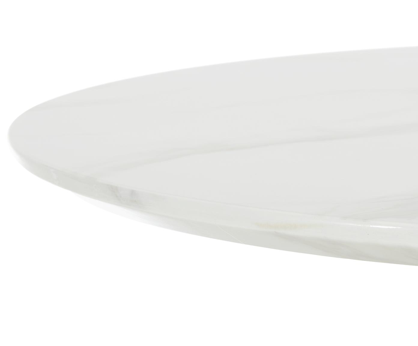 Runder Esstisch Karla in Marmoroptik, Tischplatte: Mitteldichte Holzfaserpla, Tischplatte: Weiss, marmoriert Tischbein: Weiss, matt, Ø 90 x H 75 cm