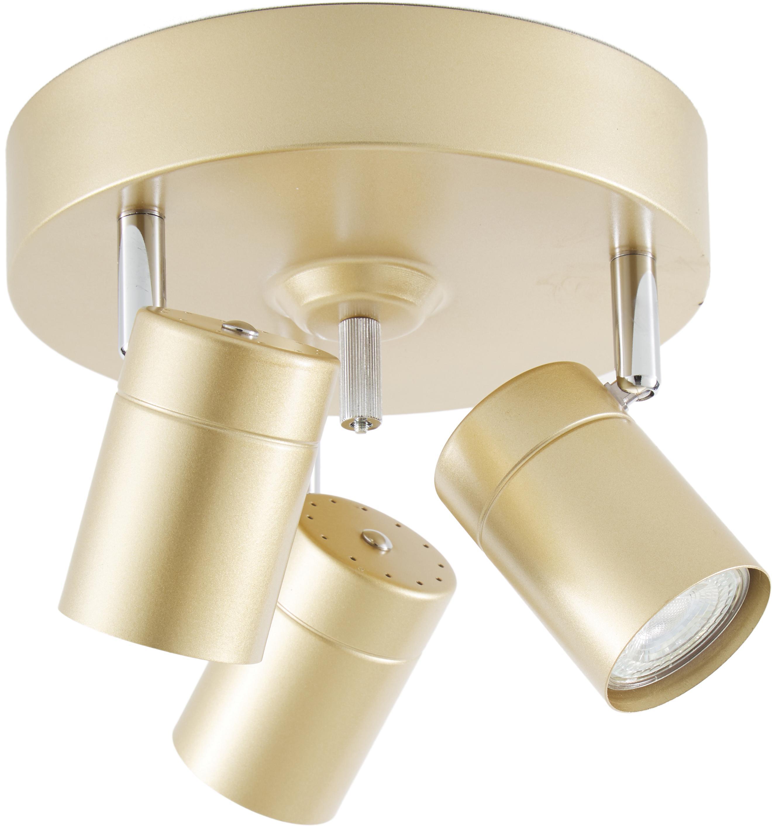 Plafondspot Correct, Lampenkap: gecoat metaal, Frame: gecoat metaal, Baldakijn: gecoat metaal, Goudkleurig, Ø 20 x H 14 cm