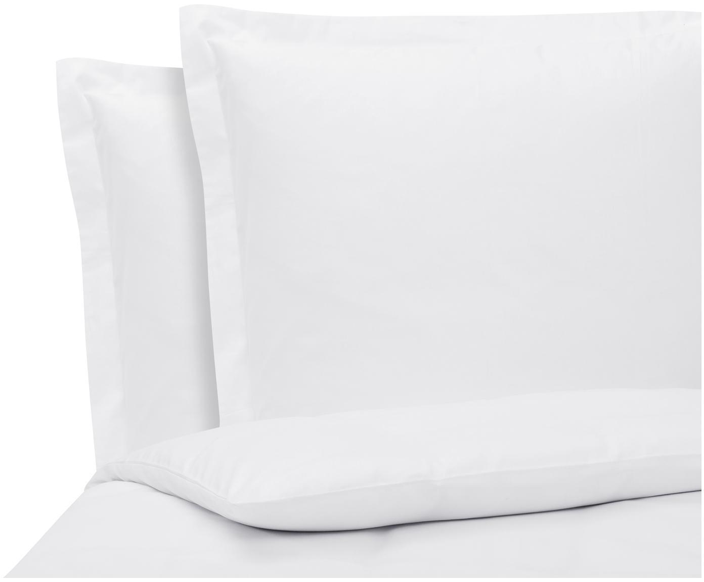 Baumwollsatin-Bettwäsche Premium in Weiß mit Stehsaum, Webart: Satin Fadendichte 400 TC,, Weiß, 200 x 200 cm + 2 Kissen 80 x 80 cm