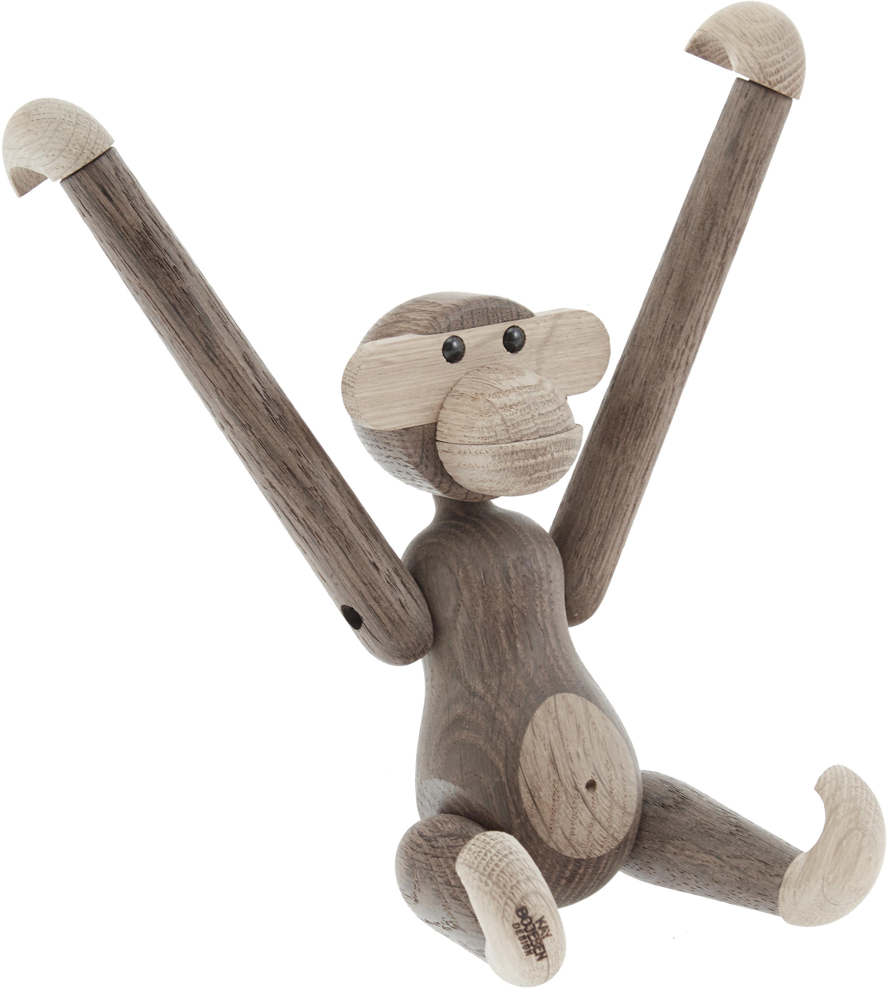 Designer-Deko-Objekt Monkey, Eichenholz, Eichenholz, lackiert, Eichenholz, 20 x 19 cm