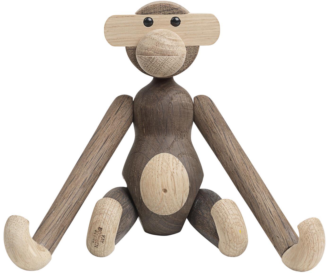 Dekoracja z drewna dębowego Monkey, Drewno dębowe, lakierowane, Drewno dębowe, S 20 x W 19 cm