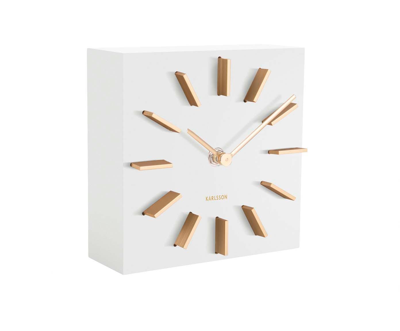 Tischuhr Discreet, Mitteldichte Holzfaserplatte (MDF), Weiß, Goldfarben, 15 x 15 cm