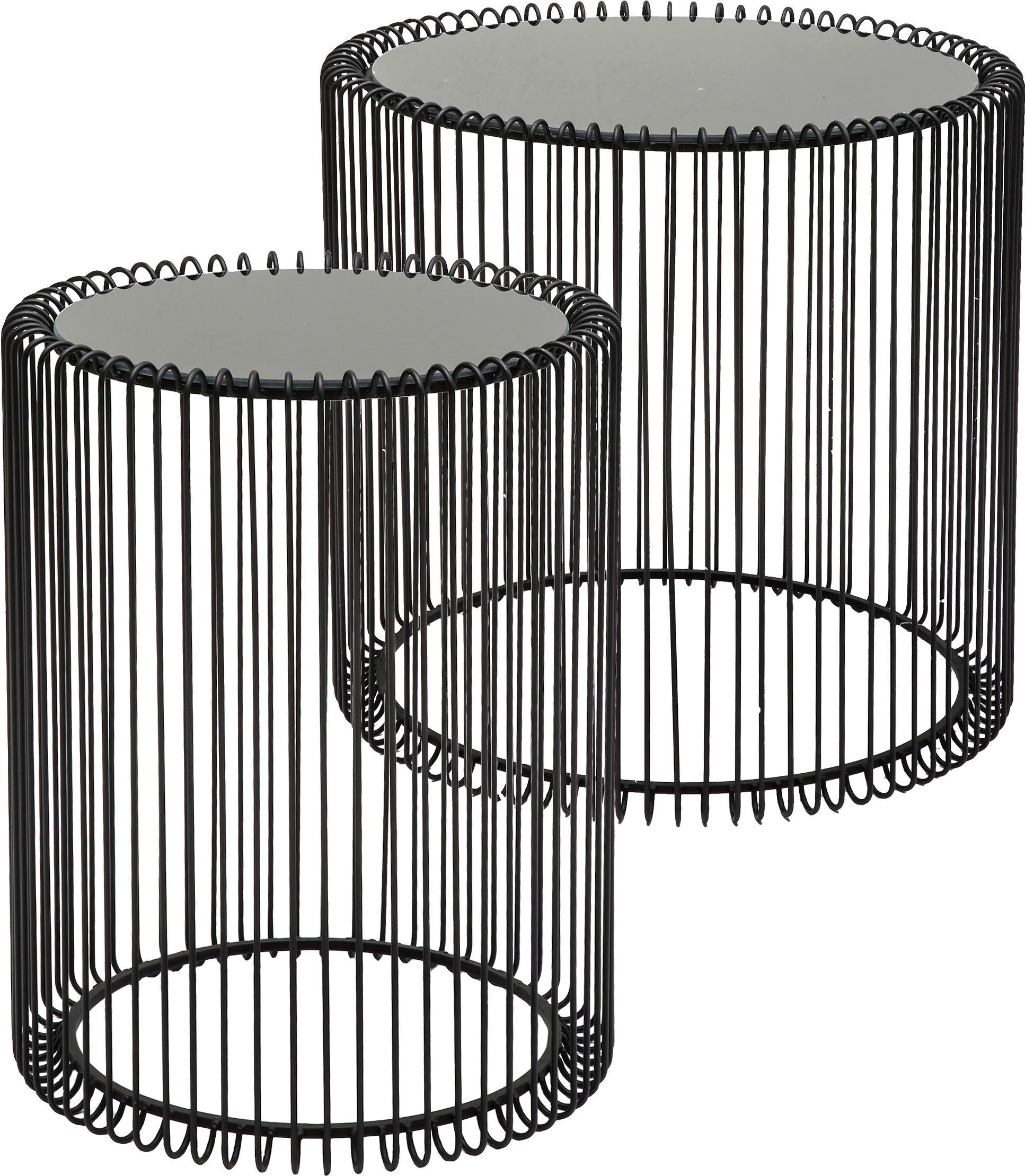 Metalen bijzettafel Wire met glazen tafelblad, 2-delig, Frame: gepoedercoat metaal, Tafelblad: veiligheidsglas met folie, Zwart, Set met verschillende formaten