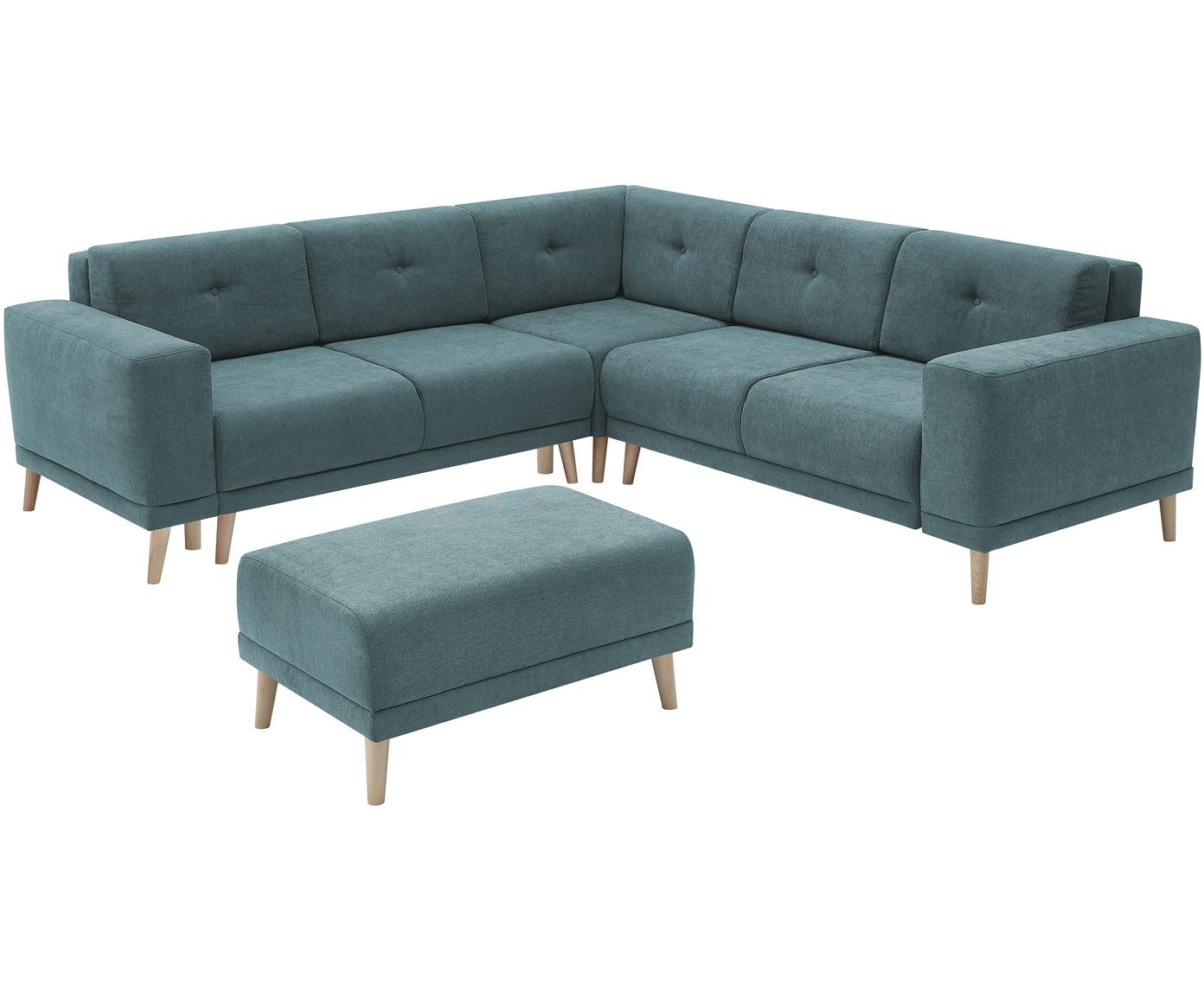 Sofa narożna z funkcją spania Luna, Tapicerka: 100% aksamit poliestrowy, Nogi: metal lakierowany, Niebieski, S 260 x G 260 cm