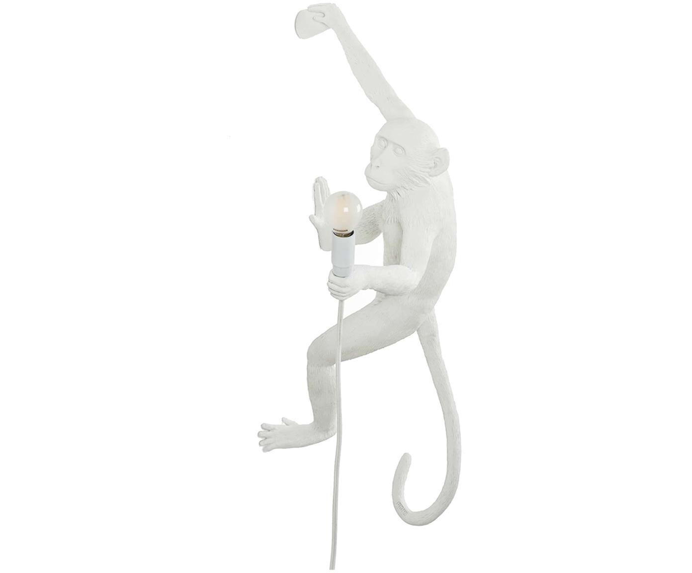 Wandleuchte The Monkey mit Stecker, Polyresin, Weiß, 21 x 77 cm