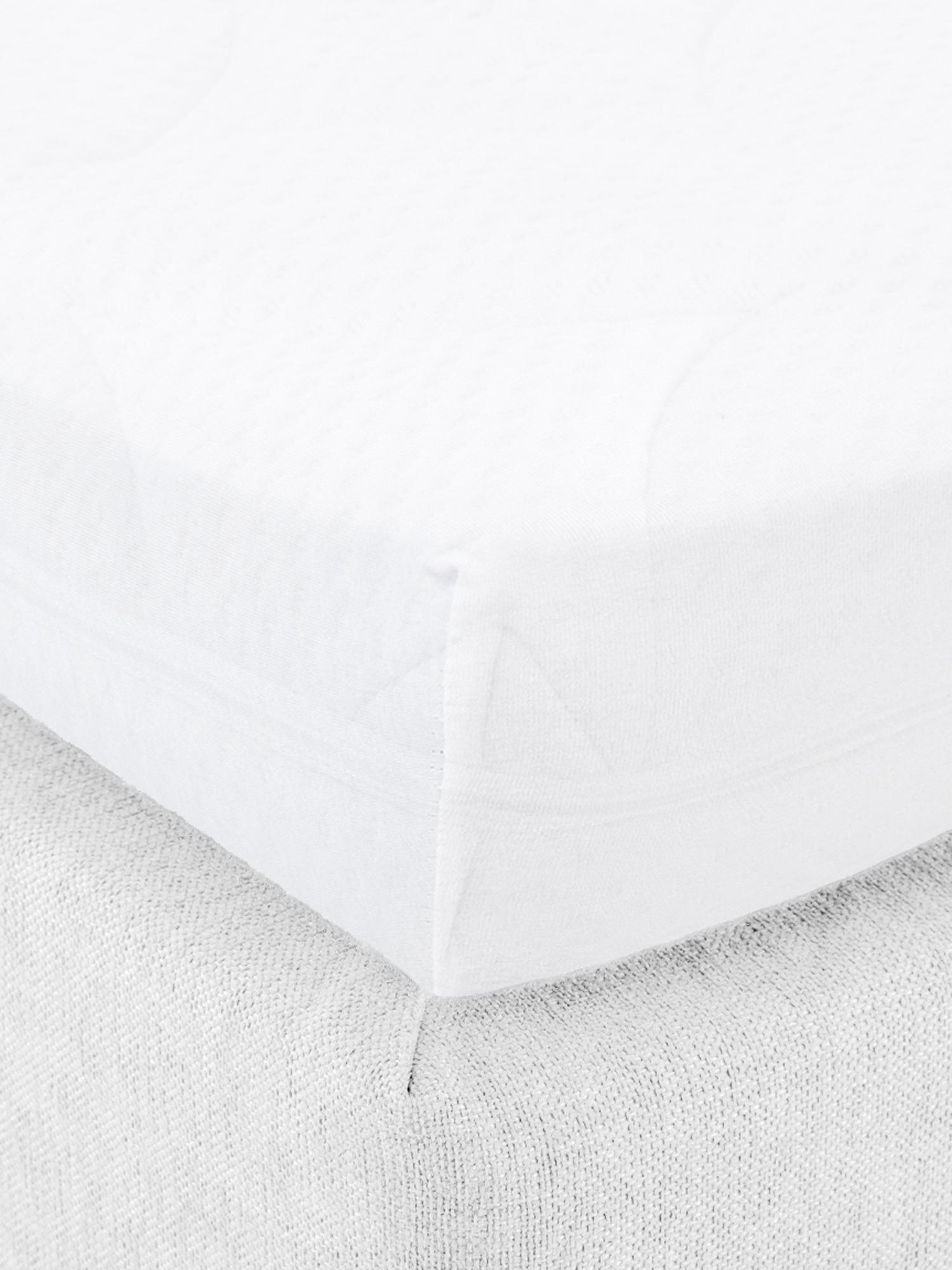Prześcieradło z gumką na topper z jerseyu Lara, 95% bawełna, 5% elastan, Biały, S 180 x D 200 cm