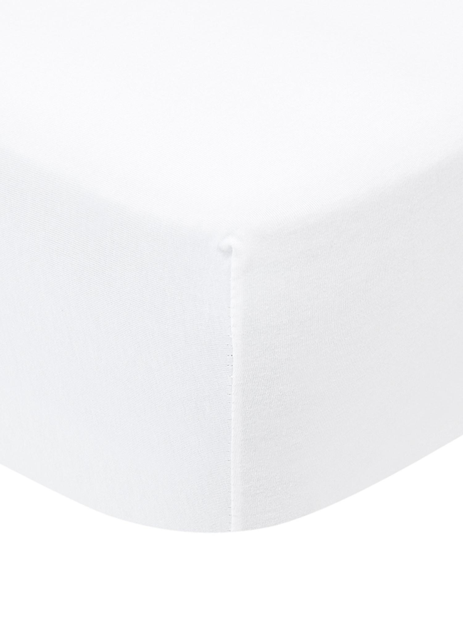 Prześcieradło z gumką na topper z jerseyu Lara, 95% bawełna, 5% elastan, Biały, S 90-100 x D 200 cm