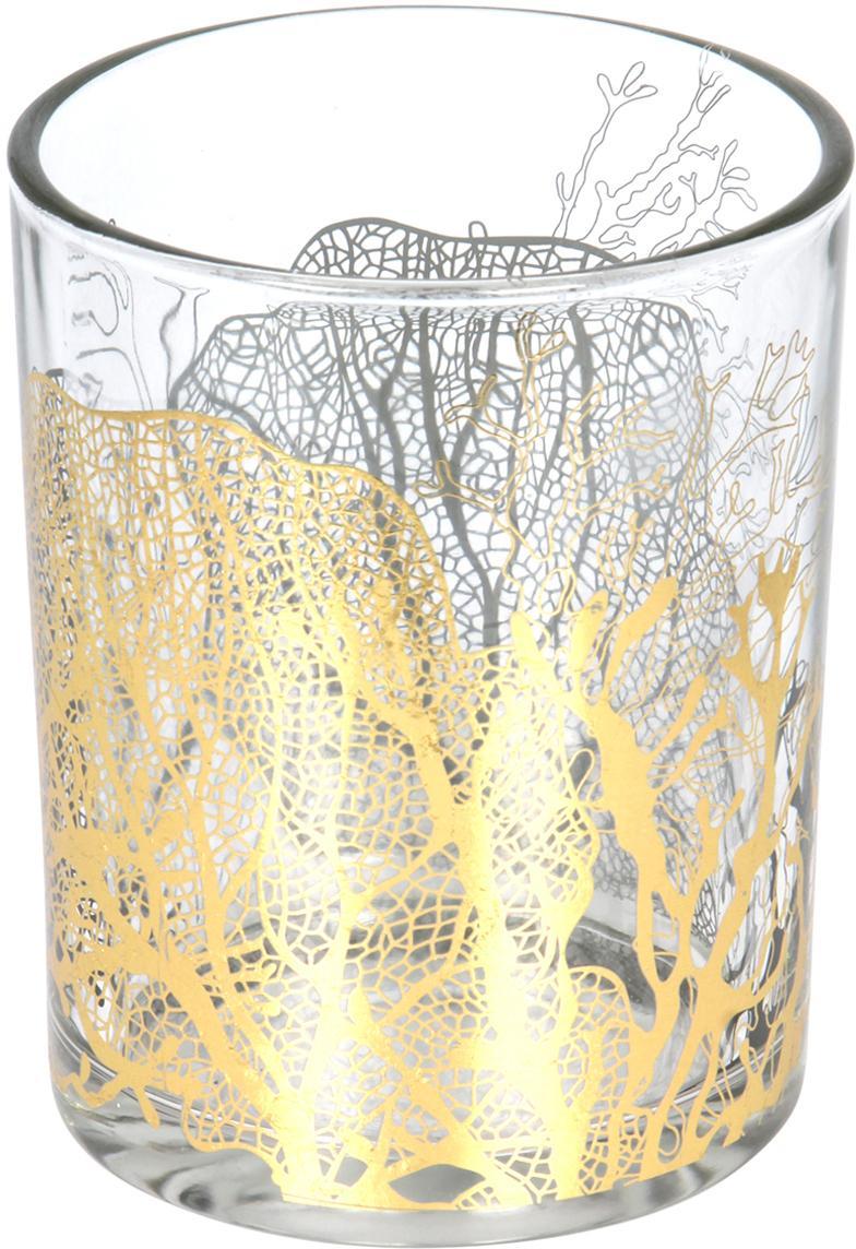 Waxinelichthouder Jules, Glas, Transparant, goudkleurig, Ø 10 x H 13 cm