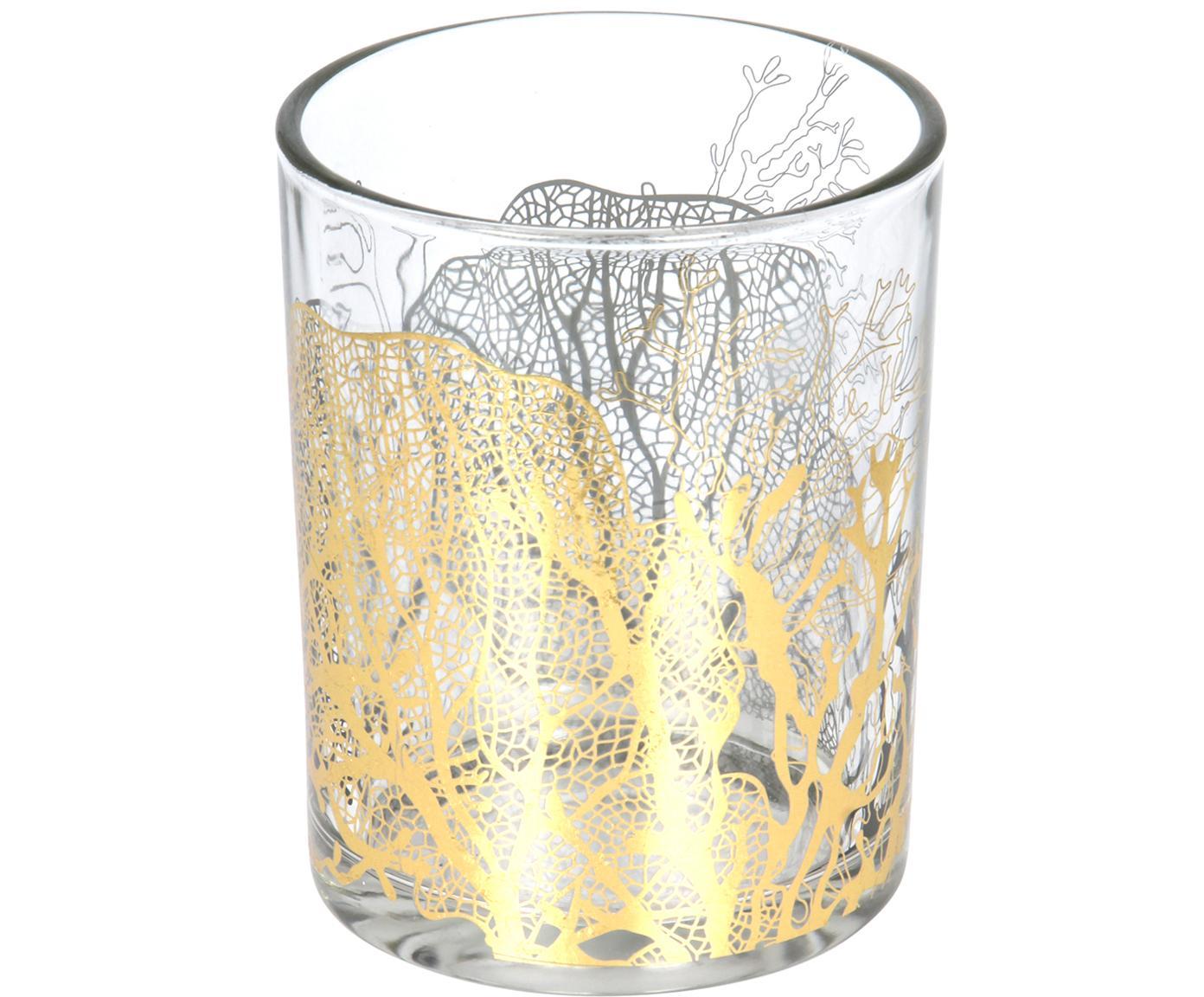 Portalumini Jules, Vetro, Trasparente, dorato, Ø 10 x Alt. 13 cm