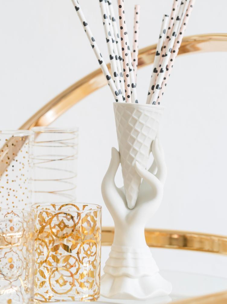 Kleine Vase I-Scream aus Porzellan, Porzellan, Weiß, Ø 7 x H 18 cm