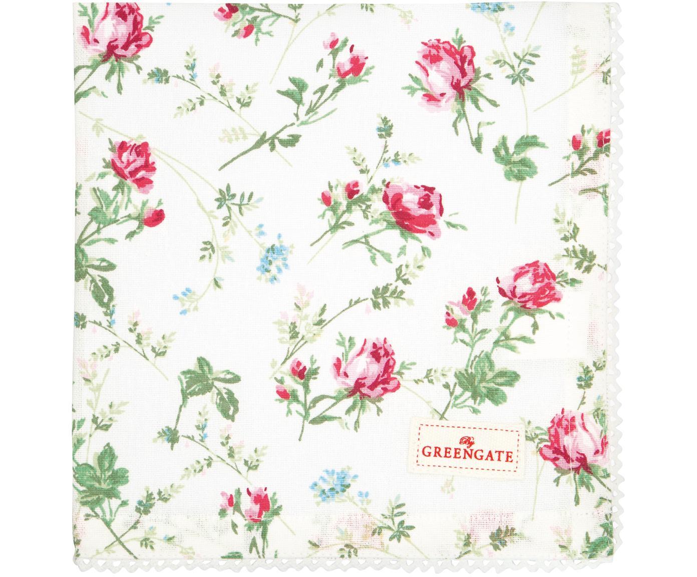 Tovaglioli in cotone con motivo rose Costanza 2 pz, Cotone, Bianco, multicolore, Larg. 40 x Lung. 40 cm