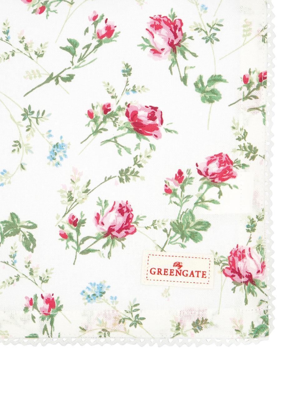 Geblümte Servietten Constance mit Spitzenborte, 2 Stück, Baumwolle, Weiß, Mehrfarbig, 40 x 40 cm