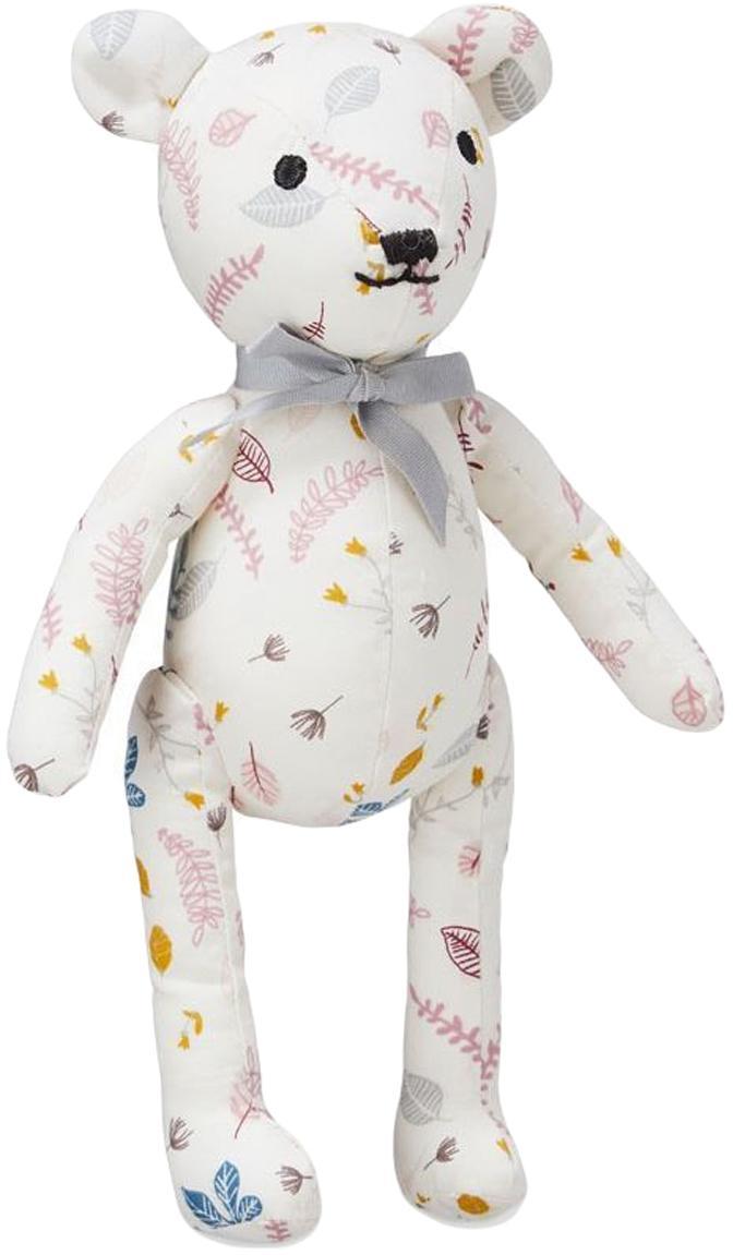 Knuffeldier Teddy van biokatoen, Bekleding: biokatoen, OCS-gecertific, Wit, rozetinten, geel, 14 x 28 cm