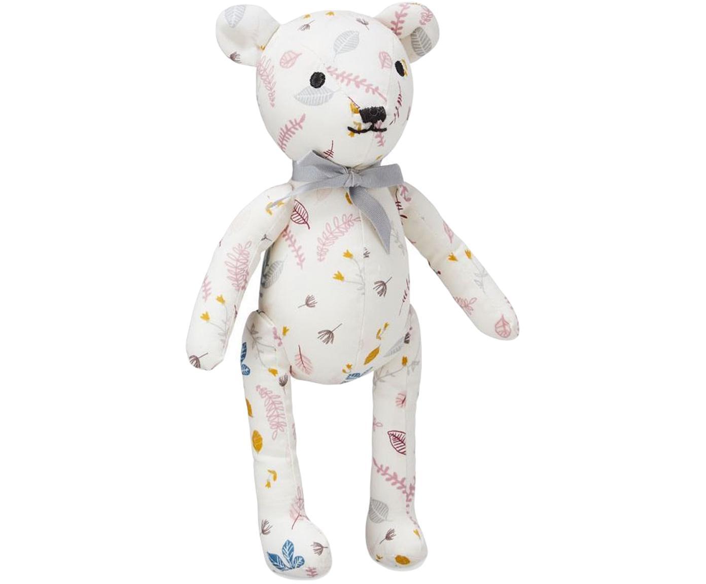 Kuscheltier Teddy aus Bio-Baumwolle, Bezug: Bio-Baumwolle, OCS-zertif, Weiss, Rosatöne, Gelb, 14 x 28 cm
