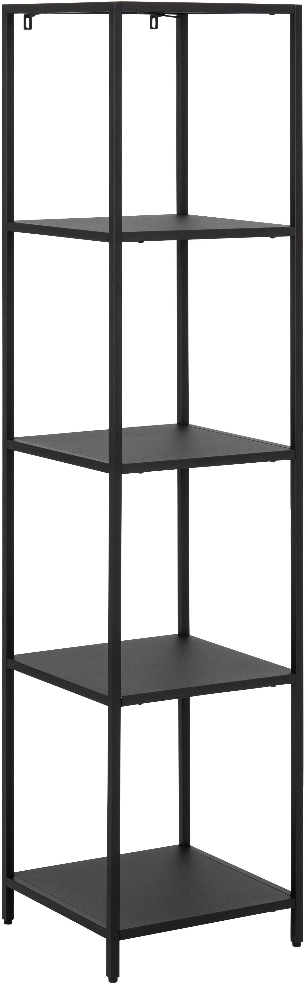 Metall-Standregal Newton in Schwarz, Metall, pulverbeschichtet, Schwarz, 35 x 146 cm