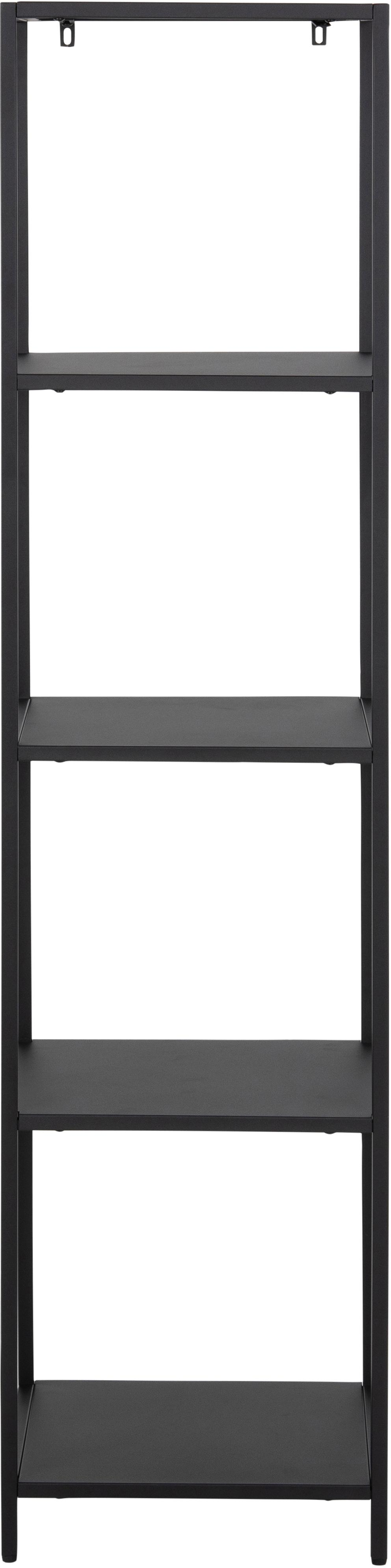 Metall-Standregal Newton in Schwarz, Metall, pulverbeschichtet, Schwarz, 35 x 146 cm
