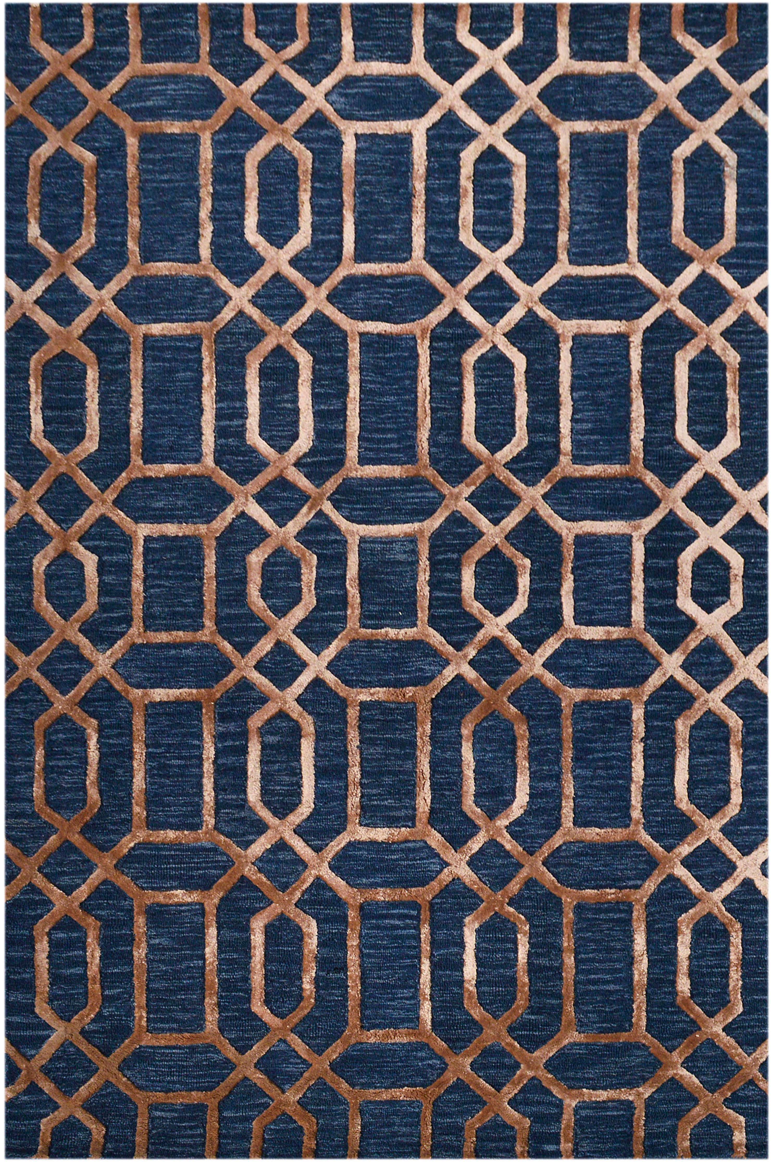 Alfombra artesanal de lana Vegas, Parte superior: 80%lana, 20%viscosa, Reverso: algodón, Azul oscuro, marrón, An 200 x L 300 cm (Tamaño L)
