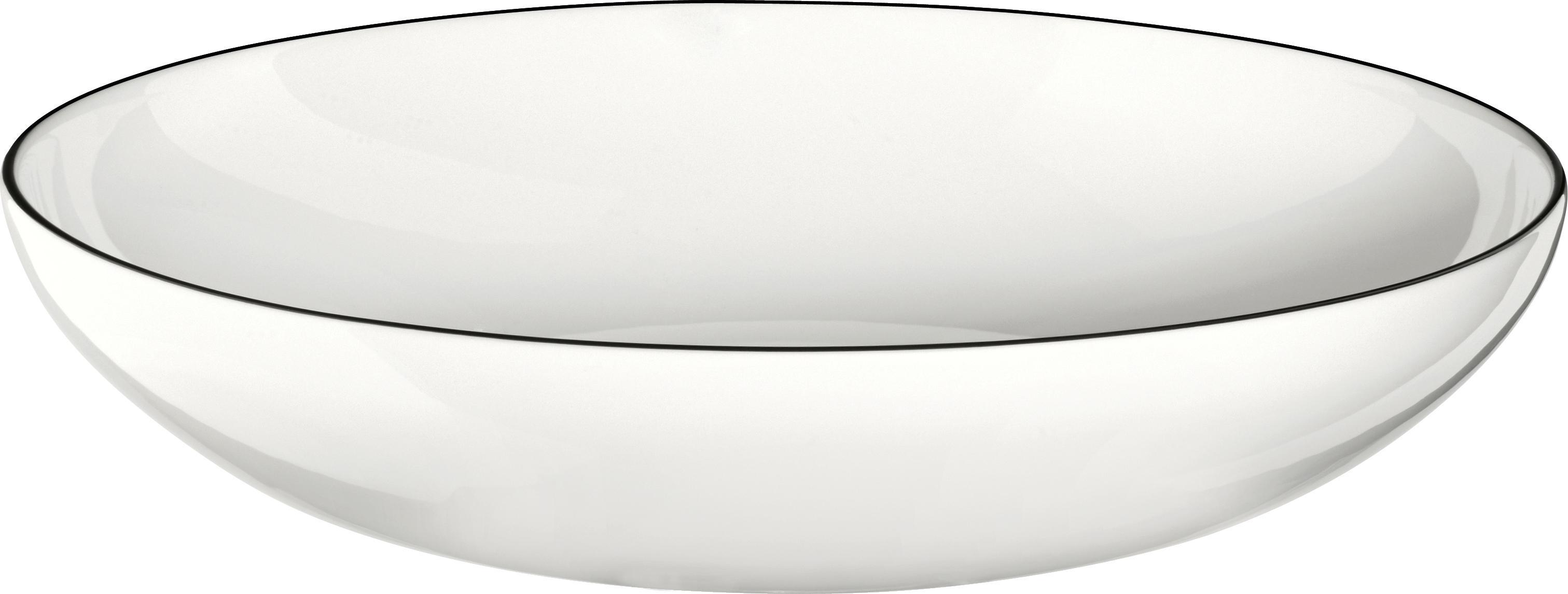 Pastateller á table ligne noir mit schwarzem Rand, 4 Stück, Fine Bone China (Porzellan) Fine Bone China ist ein Weichporzellan, das sich besonders durch seinen strahlenden, durchscheinenden Glanz auszeichnet., Weiß<br>Rand: Schwarz, Ø 22 x H 5 cm