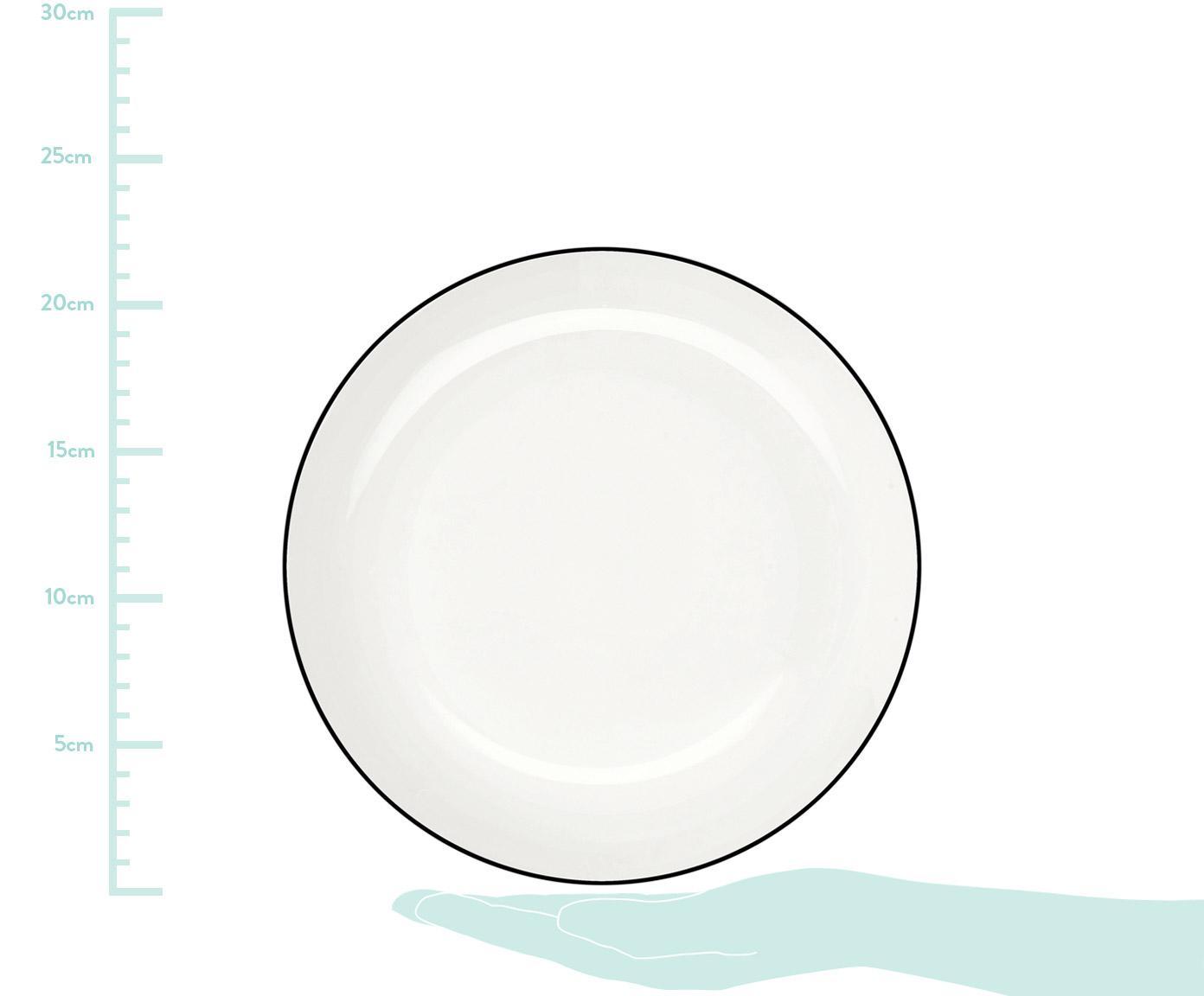 Piatto da pasta á table ligne noir 4 pz, Porcellana Fine Bone China, Bianco Bordo: nero, Ø 22 x Alt. 5 cm