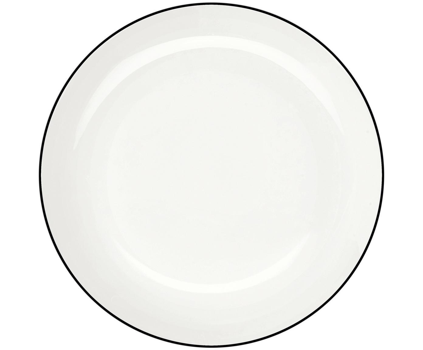 Platos de pasta á table ligne noir, 4uds., Porcelana fina, Blanco Borde: negro, Ø 22 x Al 5 cm