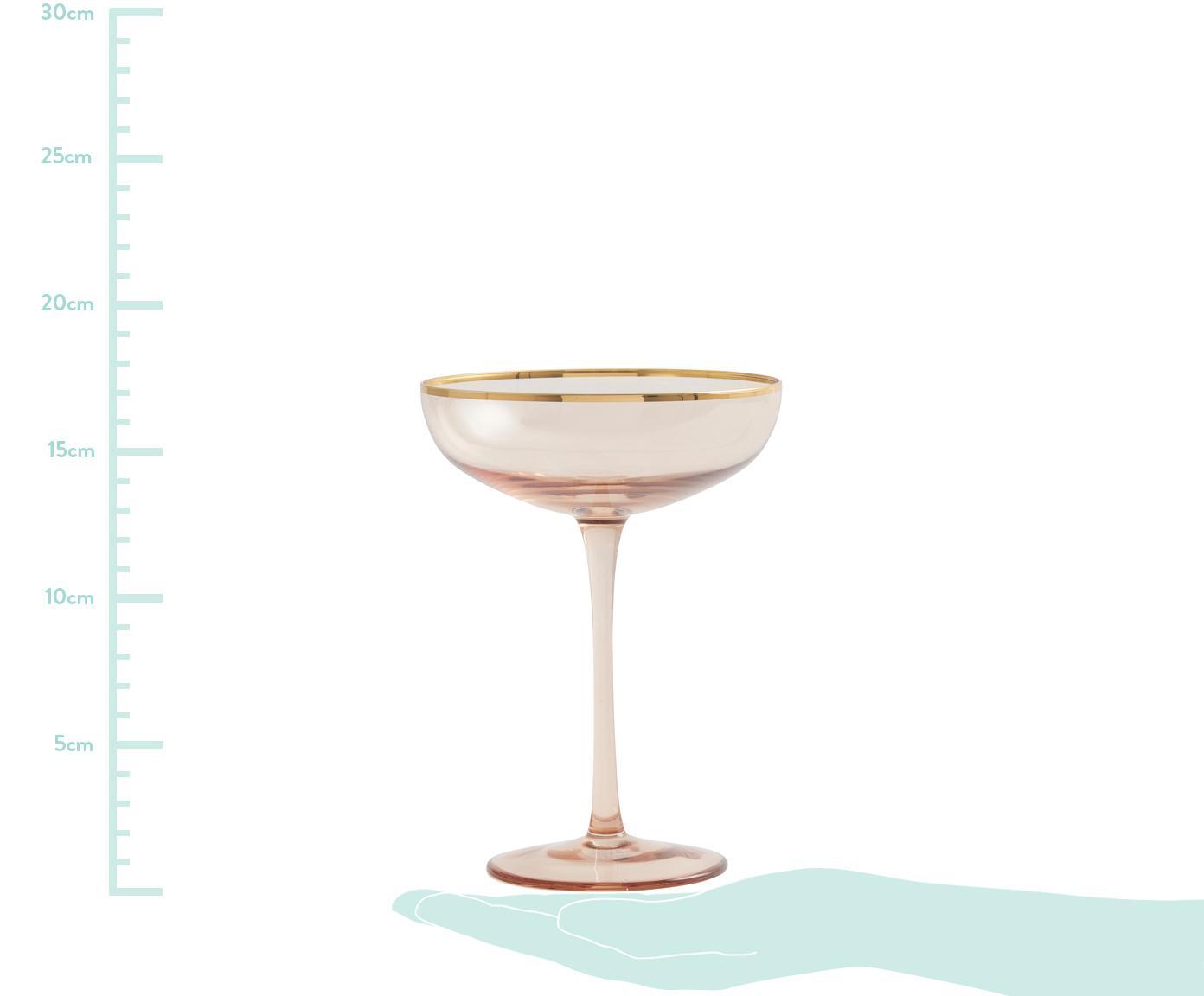 Coppa champagne Goldie 6 pz, Vetro, Rosa, dorato, Ø 12 x Alt. 17 cm