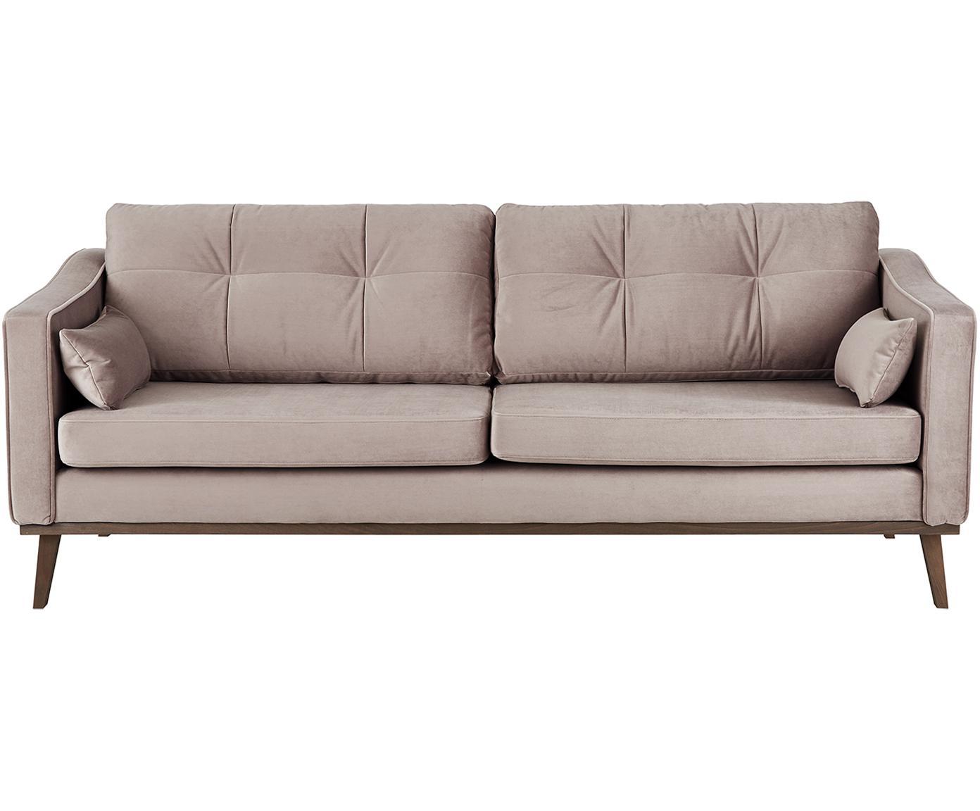 Sofa z aksamitu Alva (3-osobowa), Tapicerka: aksamit (wysokiej jakości, Stelaż: drewno sosnowe, Nogi: lite drewno bukowe, barwi, Tapicerka: taupe Nogi: drewno bukowe, bejcowane na ciemno, S 215 x G 92 cm