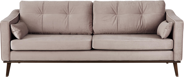 Samt-Sofa Alva (3-Sitzer), Bezug: Samt (Hochwertiger Polyes, Gestell: Massives Kiefernholz, Füße: Massives Buchenholz, gebe, Samt Taupe, B 215 x T 92 cm