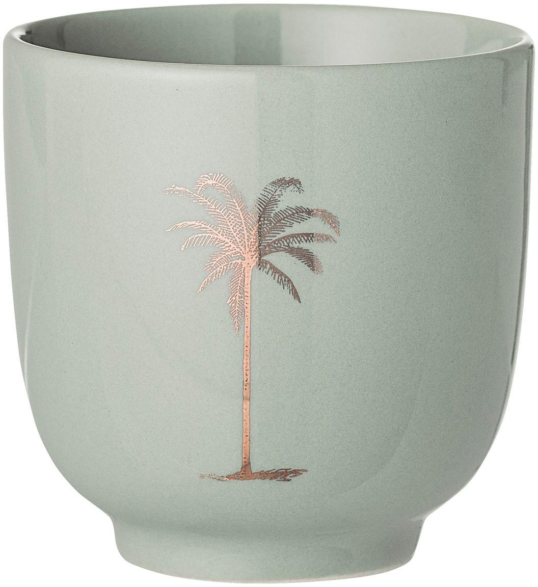 Becher Reese mit Palmen-Motiv, 2 Stück, Keramik, Resedagrün, Kupferfarben, Ø 7 x H 7 cm