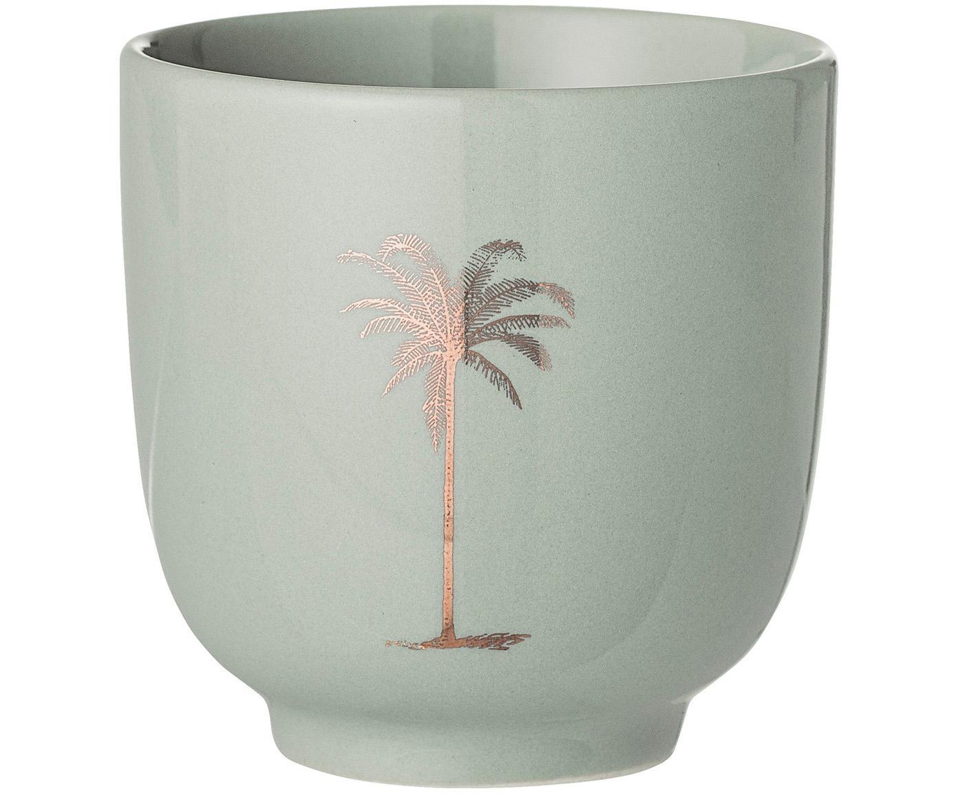 Kubek Reese, 2 szt., Ceramika, Bladozielony, odcienie miedzi, Ø 7 x W 7 cm