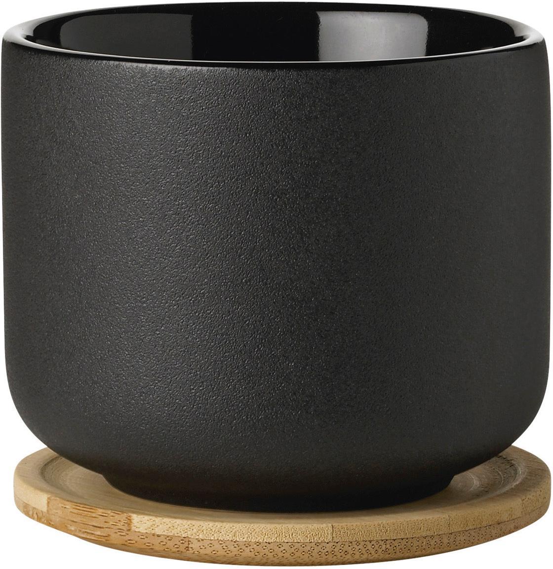 Beker Theo in zwart met deksel/onderzetter, Beker: keramiek, Deksel: bamboe, Zwart, Ø 9 cm