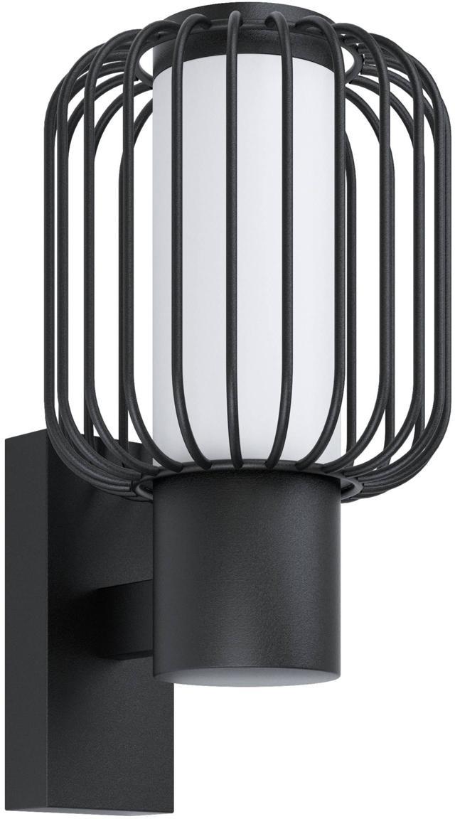 Outdoor wandlamp Ravello, Verzinkt staal, kunststof, Zwart, 17 x 28 cm