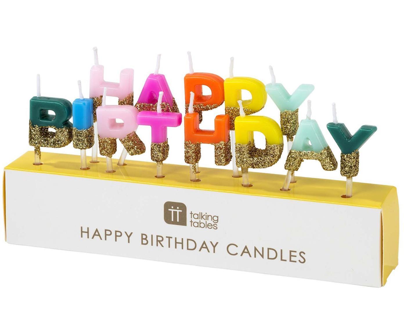 Velas de tarta Happy Birthday, Parafina, Multicolor con purpurina, An 17 x Al 11 cm