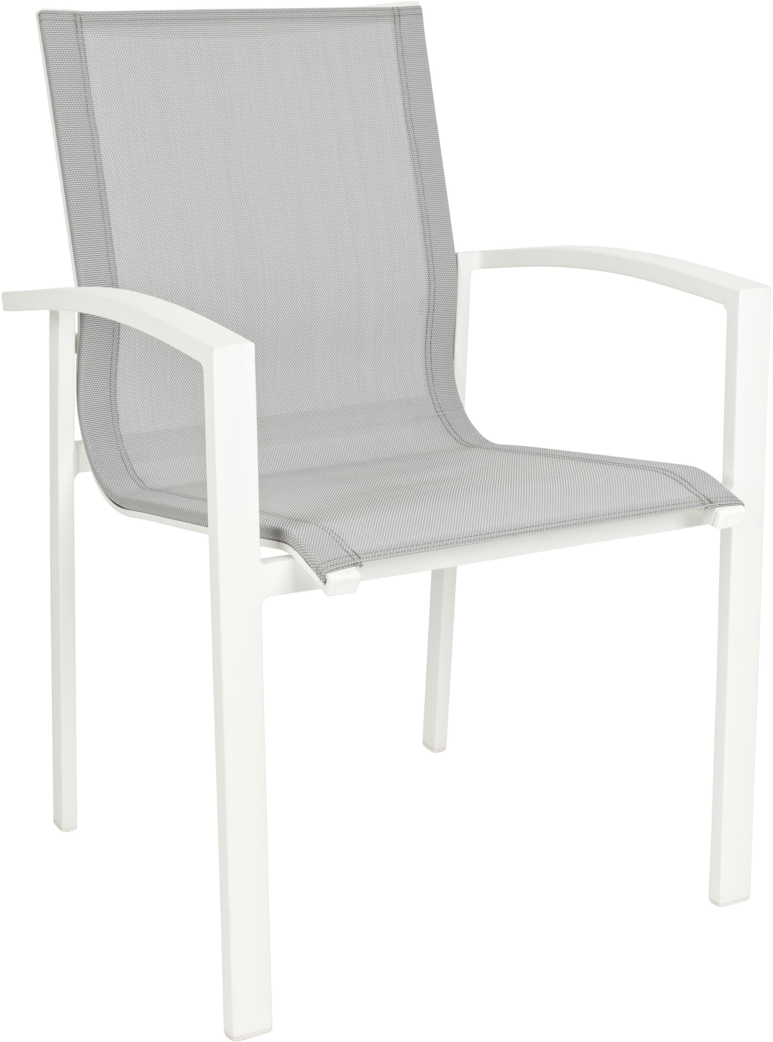 Stapelbarer Garten-Armlehnstuhl Atlantic, Gestell: Aluminium, pulverbeschich, Sitzfläche: Textil, Weiss, Hellgrau, B 60 x T 66 cm