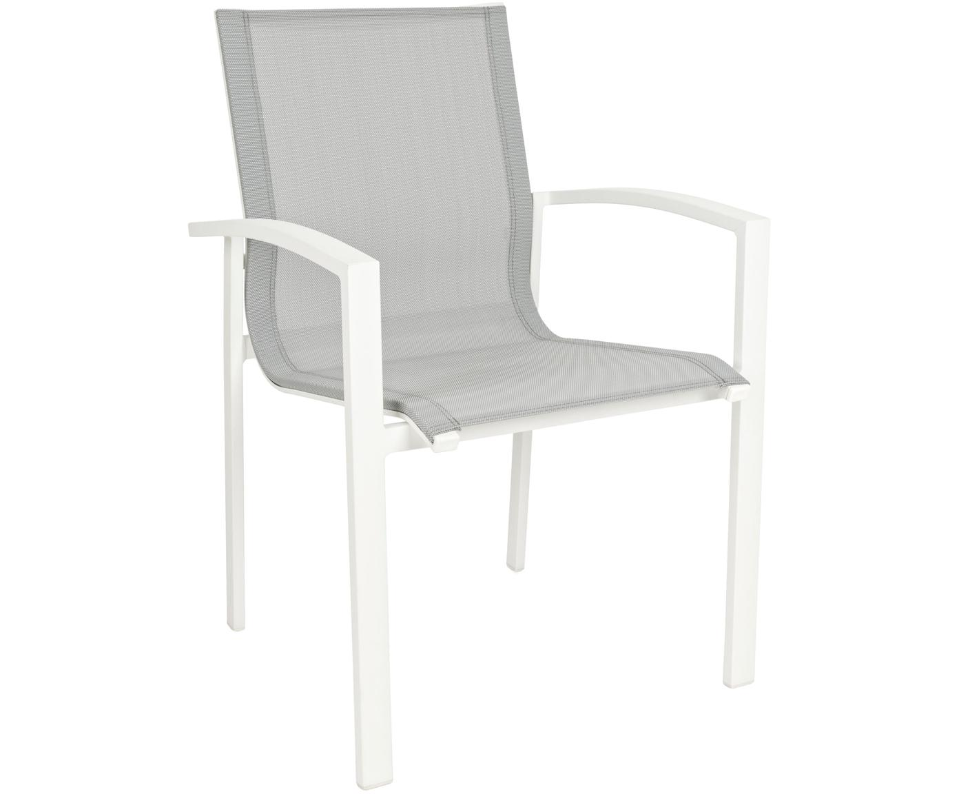 Silla con reposabrazos de exterior Atlantic, Estructura: aluminio con pintura en p, Asiento: tela, Blanco, gris claro, An 60 x F 66 cm