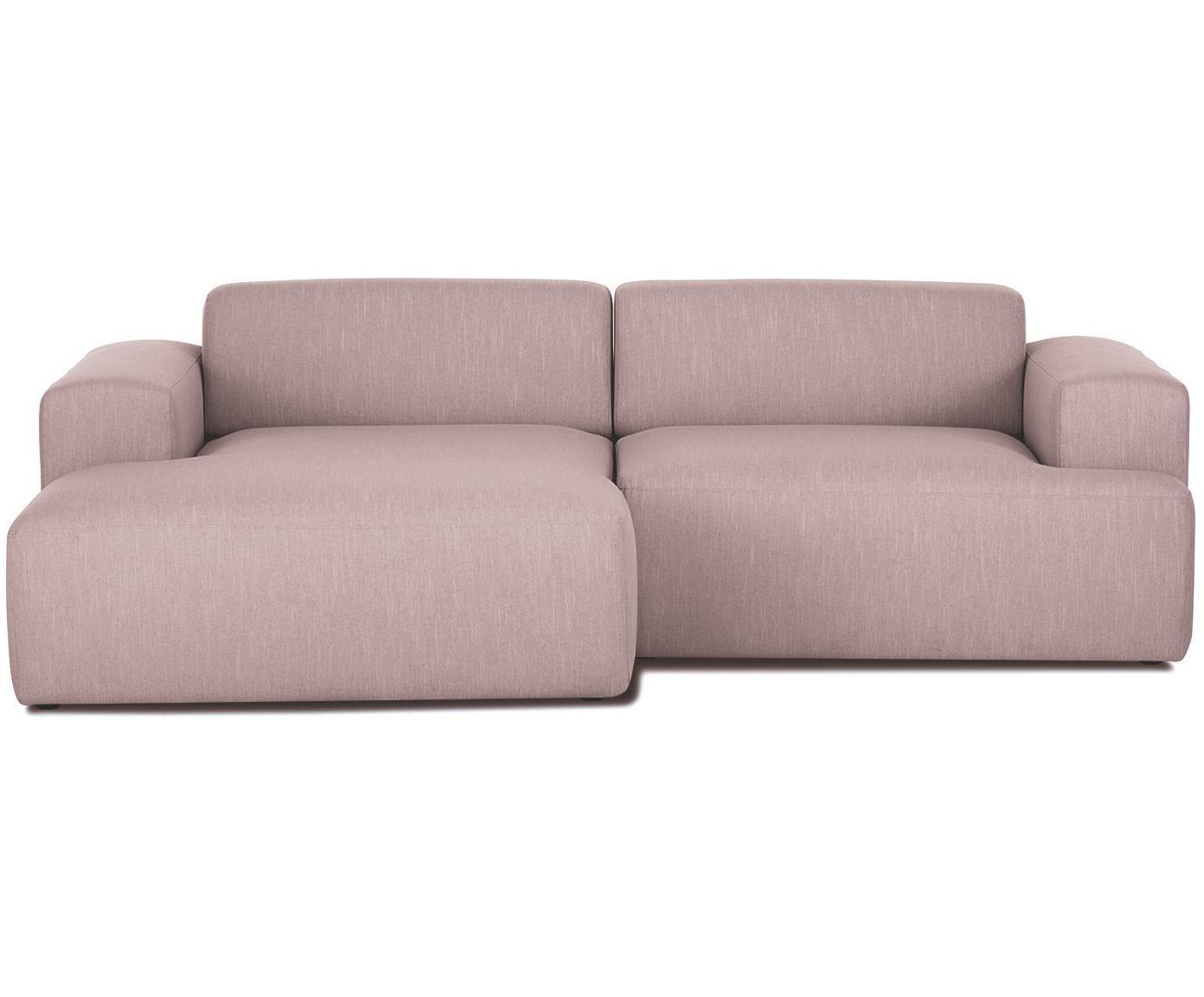 Ecksofa Melva (3-Sitzer), Bezug: Polyester 35.000 Scheuert, Gestell: Massives Kiefernholz, Spa, Füße: Kiefernholz, Webstoff Rosa, B 240 x T 144 cm