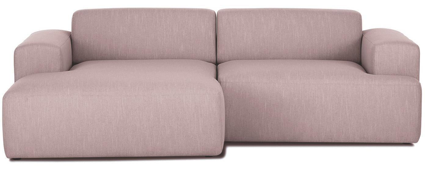 Ecksofa Melva (3-Sitzer), Bezug: Polyester Der hochwertige, Gestell: Massives Kiefernholz, Spa, Füße: Kiefernholz, Webstoff Rosa, B 240 x T 144 cm