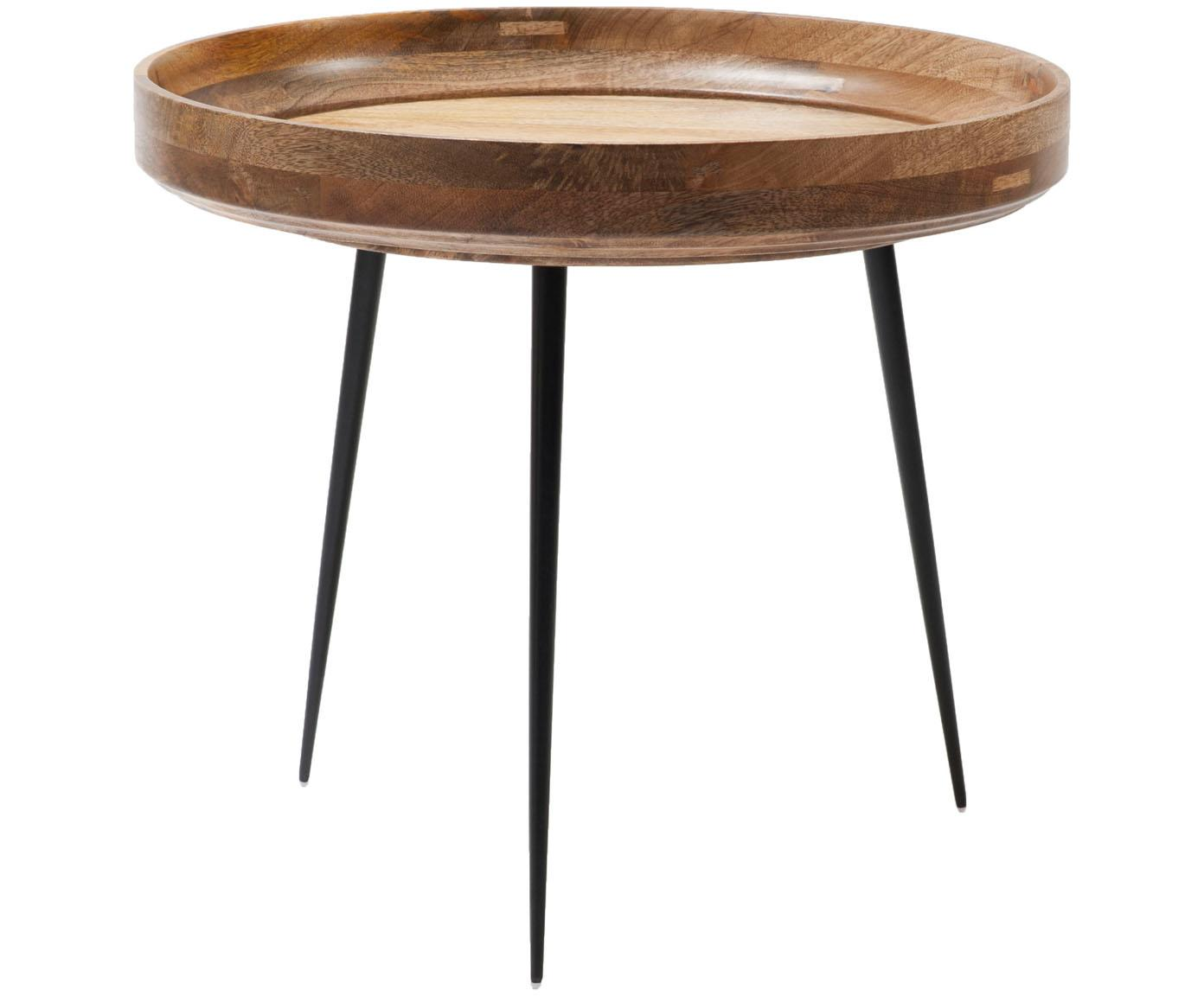 Kleine design bijzettafel Bowl Table van mangohout, Tafelblad: gelakt mangohout, Poten: gepoedercoat staal, Mangohoutkleurig, zwart, Ø 53 x H 46 cm